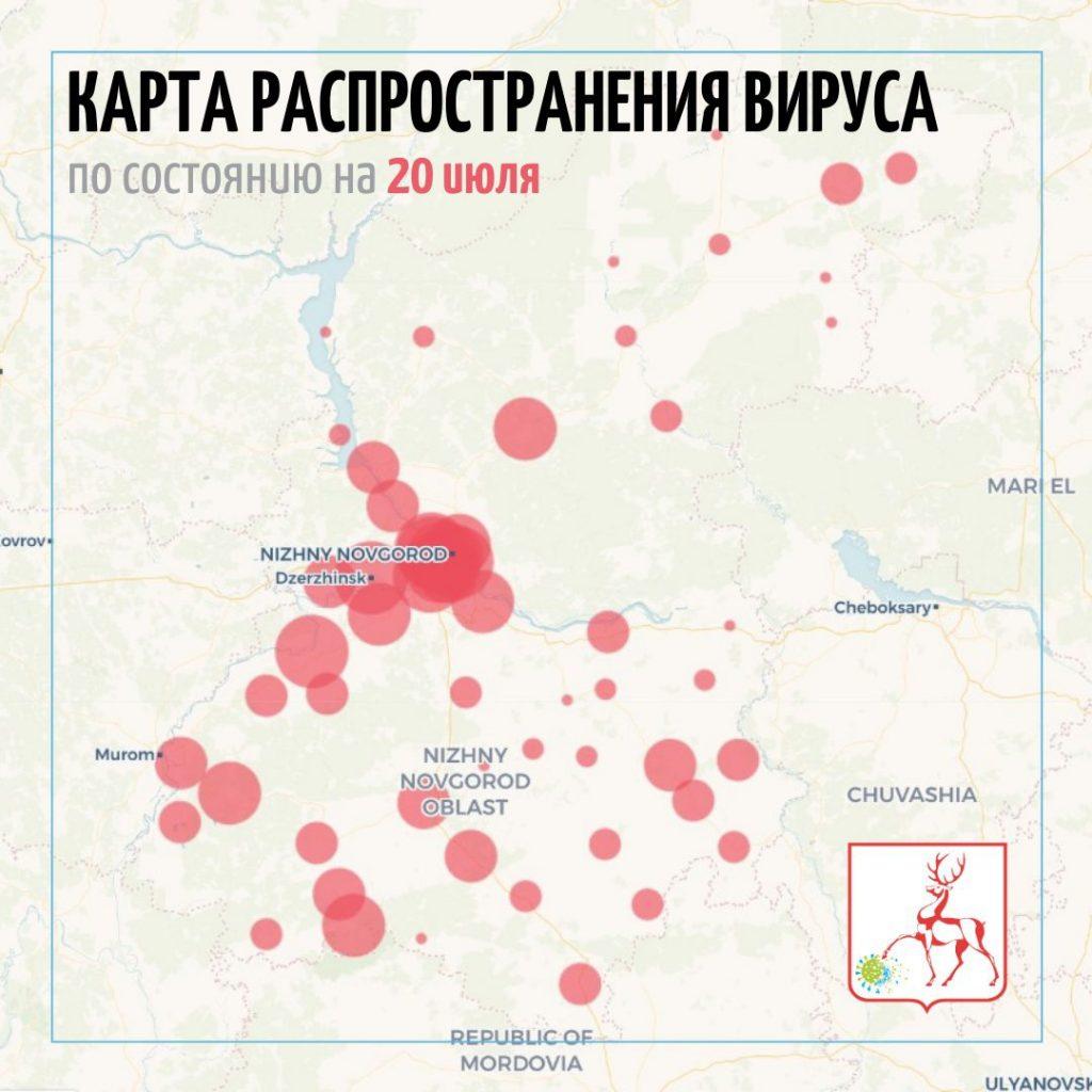 С 13 по 20 июля +79 заболевших в Выксе, всего 3218 человек